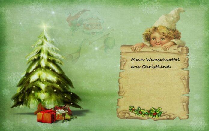 Christkind mit Wunschzettel und Weihnachtsbaum